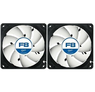 2 Pack Of Arctic F8 80mm 8cm PC Gaming Case Fan Silent, High performance 6Yr Wty