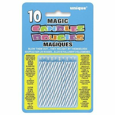 Pack of 10 Blue Magic Birthday Candles Unique Party Birthday Cake Candle
