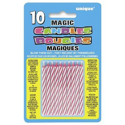 Pack of 10 Pink Magic Birthday Candles Unique Party Birthday Cake Candle