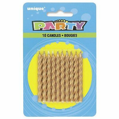 Pack of 10 Gold Spiral Birthday Candles Unique Party Birthday Cake Candle