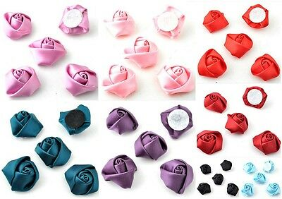 lady-muck1 10 Satin Ruche Flower Embellishments Card Scrapbooking Sewing  33mm