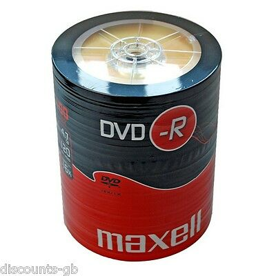 100 Maxell DVD-R Recordable Blank Discs BULK SHRINK WRAPPED - Like a spindle