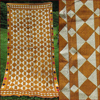 Fine Antique Phulkari Handwoven Silk Cotton Mid 20Thc  Punjab India