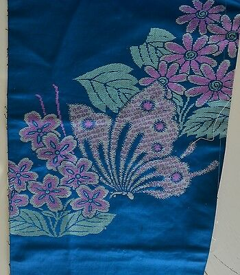 Scrumptious Vintage Antique Silk Obi Fragment In Turquoise With Butterflies Y82