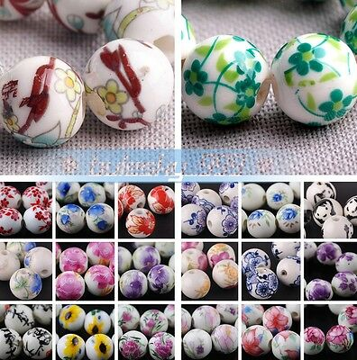10pcs Round Ceramic Porcelain Flower Pettern Charms Loose Beads 10mm/12mm