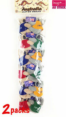 24pcs (2 packs) Clip On Hugging Koala with Flags Souvenir Perfect Gift A604x2