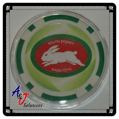 South Sydney Rabbitohs NRL Poker Chip Card Guard