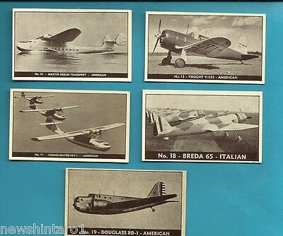 #D199. Five 1938-42 Airplane Cards, Planes Of Other Nations #10, 13, 17, 18 & 19
