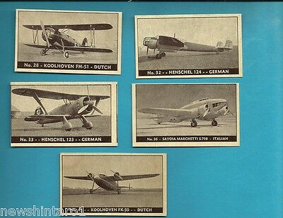 #D199. Five 1938-42 Airplane Cards, Planes Of Other Nations #28, 32, 33, 36 & 43