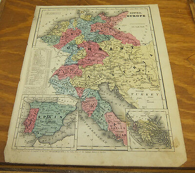 1853 Antique COLOR Smith Map  ///  CENTRAL EUROPE
