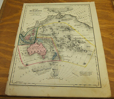 1853 Antique COLOR Smith Map  ///  OCEANICA, Oceania