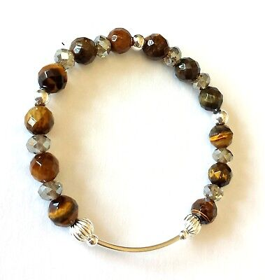 925 sterling silver bead and gemstone charm bracelet tiger's eye various designs