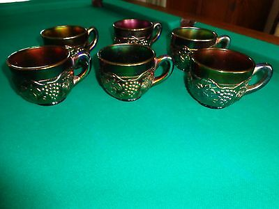 Carnival Glass Northwood Grape & Cable Blue Cup Set of 6