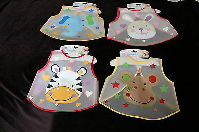 Baby Wipe Clean Bib toddler plastic cover all 4 Designs pink blue animals dinner