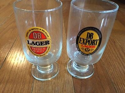 2 New Zealand DB Lager beer glasses