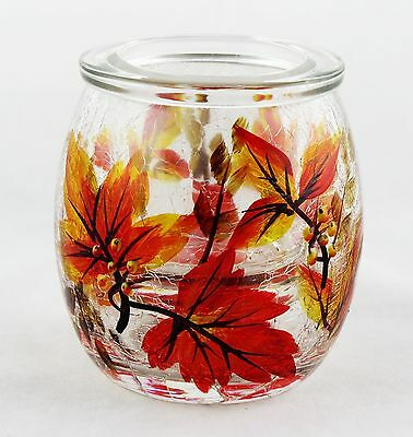 Autumn Leaf Crackle Glass Small Tea Light Candle Holder Yankee Candle NEW fall