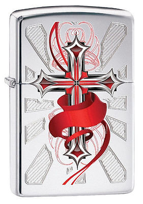 Zippo Windproof Lighter With Cross and Red Ribbon, # 28526, New In Box