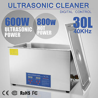 Digital Ultrasonic Cleaner Stainless Steel Heater Timer Industrial 30L Tank