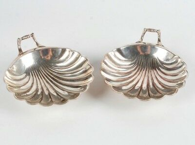 Antique Pair Of Silver-Plate Shell Form Footed Dishes By Weidlich Bros. Mfg.