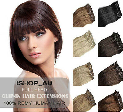 """13""""-24"""" Clip in 100% Remy Real Human Hair Extensions Weft Brown Blonde Black io"""