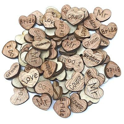 25mm Just Married Hearts Wooden Shabby Chic Craft Scrapbook Vintage Confetti