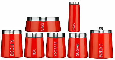 Madison Red Enamel Tea Coffee Sugar, Bread, Cake, Pasta & Biscuit Canisters New