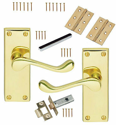 """4"""" Solid Brass Scroll Internal Lever Latch Door Handles Pack Hinges & 64mm Latch"""