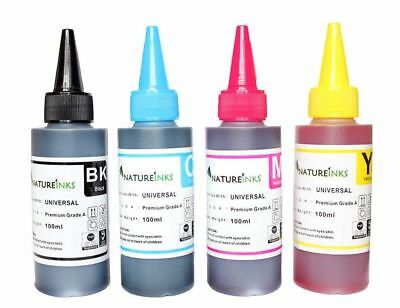Natureinks 400ml PREMIUM Printer Refill Bulk Ink dye Bottle kit for CISS