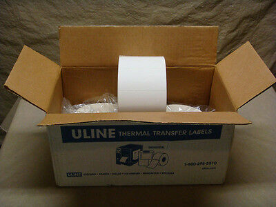 "3 ULINE 4"" x 2"" White Thermal Labels 2750 per roll 3"" Hub S-5035"