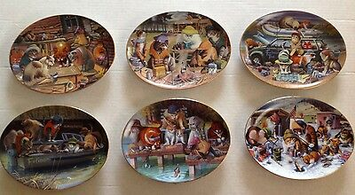 Lot Of 6 Franklin Mint Byran Moon Limited Edition Cat Porcelain Plates Free Ship