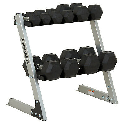 Mirafit 6kg-40kg Rubber Dumbbell Hex Weights & Storage Rack Dumbbells/Dumbells