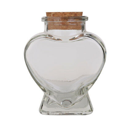 Glass Favor Storage Jars Candy Bottle Containers with Cork Mini Heart Shape