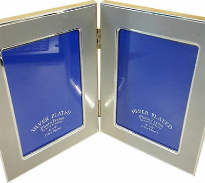 Silver Plated Photo Frame With Chrome Lining Twin 4 X 6