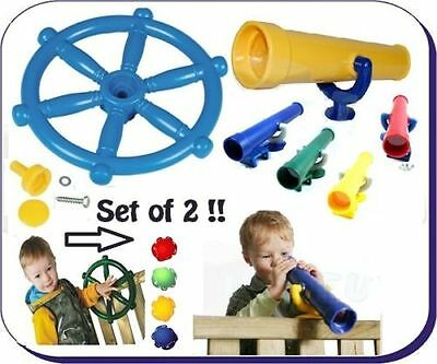 PIRATE STEERING WHEEL + TELESCOPE perfect set for CLIMBING FRAME**FREE P&P**
