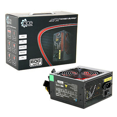 ACE 600W Black Gaming PC PSU Power Supply 6 Pin PCI-E 120mm Red Cooling Fan