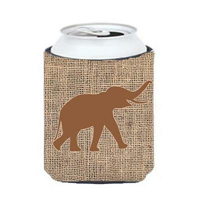 Carolines Treasures Elephant Burlap And Brown Can Or Bottle Hugger
