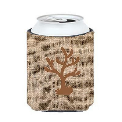Carolines Treasures BB1101-BL-BN-CC Coral Burlap And Brown Can Or Bottle Hugger
