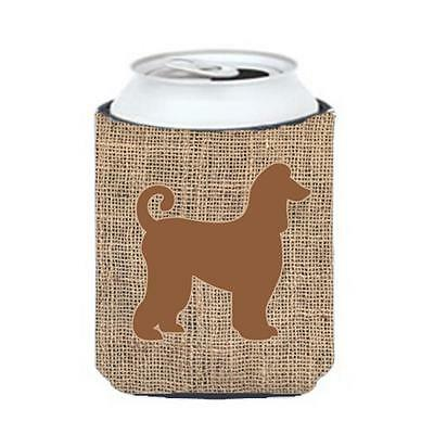 Carolines Treasures Afghan Hound Burlap And Brown Can Or Bottle Hugger