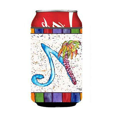 Carolines Treasures 8437-NCC Letter N With Palm Tree Can Or Bottle Hugger