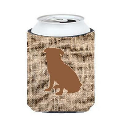 Carolines Treasures BB1084-BL-BN-CC Pug Burlap And Brown Can Or Bottle Hugger