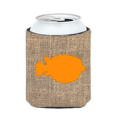 Carolines Treasures Fish Blowfish Burlap and Orange Can or Bottle Hugger