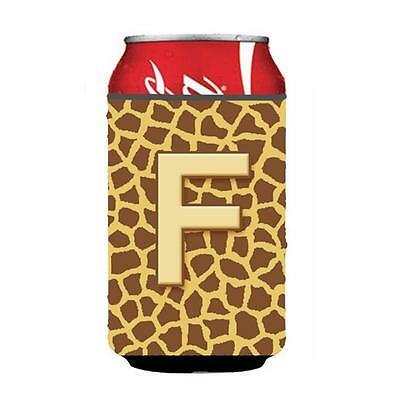 Carolines Treasures Letter F Initial Monogram Giraffe Can Or Bottle Hugger