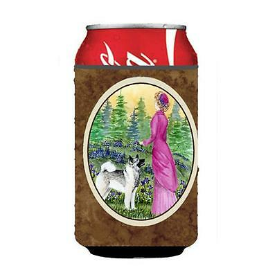Lady With Her Norwegian Elkhound Can Or bottle sleeve Hugger 12 oz.