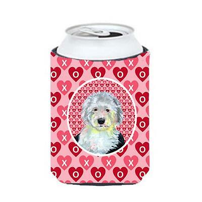 Old English Sheepdog Valentines Love and Hearts Can or bottle sleeve Hugger