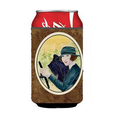 Lady Driving With Her Briard Can Or bottle sleeve Hugger 12 oz.