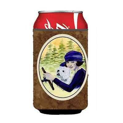 Woman Driving With Her Westie Can Or bottle sleeve Hugger 12 oz.