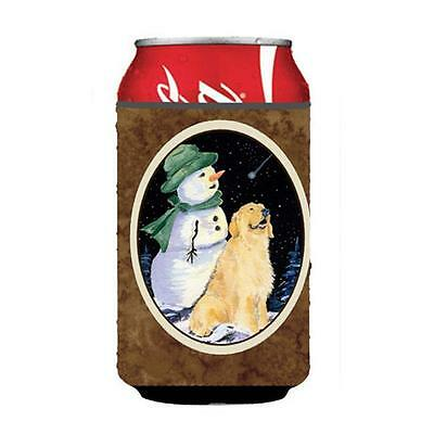 Golden Retriever With Snowman In Green Hat Can Or bottle sleeve Hugger 12 oz.