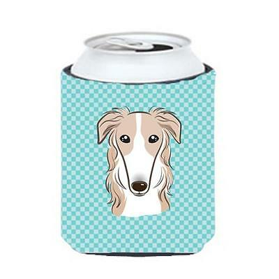 Carolines Treasures Checkerboard Blue Borzoi Can Or Bottle Hugger, 12 Oz.