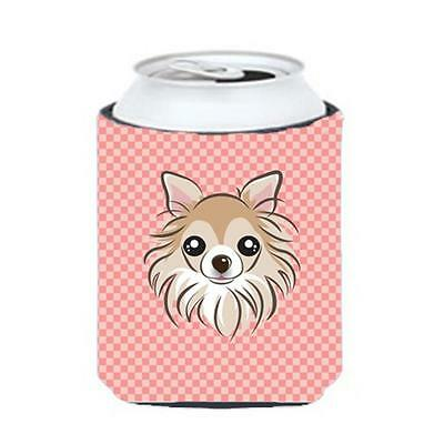 Carolines Treasures Checkerboard Pink Chihuahua Can Or Bottle Hugger, 12 Oz.