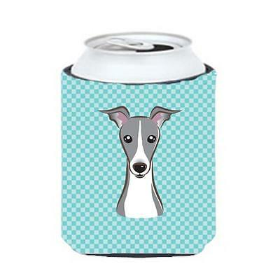 Checkerboard Blue Italian Greyhound Can Or Bottle Hugger, 12 Oz.